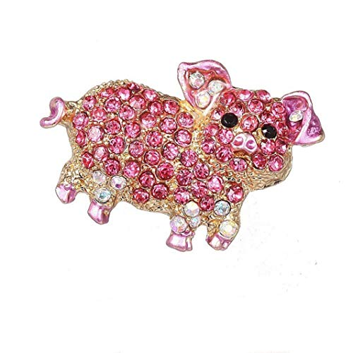 YouCY Piglet Rhinestone Brooch Cartoon Pig Brooch Fashion Lovely Animal Brooch Pin Jewelry for Women Girl Kids Button Pins Jeans Bag Decoration Gift (Pig Brooch)