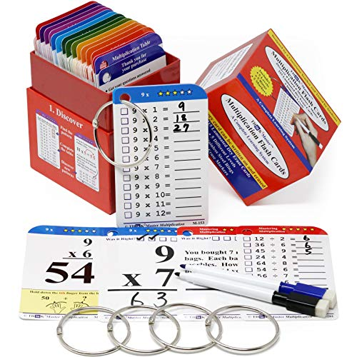 - PREMIUM 215 LAMINATED MULTIPLICATION FLASH CARDS WITH 2 DRY ERASE MARKERS & 5 RINGS. | Learn & master 0 - 12x multiplication & beyond using cards designed by a classroom teacher & improve test scores!