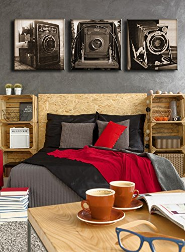 Largr Classic Camera Paintings Pictures 3 Panel Wall Art on Canvas Film Antique Camera for Living Room Home Decor Printed Posters and Prints Framed Stretched Ready to Hang,Black and White(60''Wx20''H)