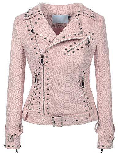 (chouyatou Women's Cool Studded Asymmetric Zip Snake-Skin Perfect Suede Leather Moto Jacket (Medium, Pink))