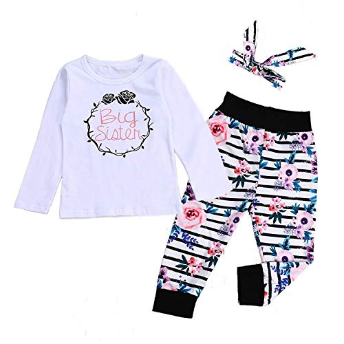 (HESHENG Baby Girl Clothes Infant Little Sister Bodysuit Kids Floral Tops + Striped Pants Set Outfits + Bowknot Headband (110(3-4Y), Big Sister))