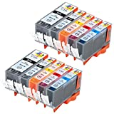 Ink & Toner Geek ® - Compatible Replacement Inkjet Cartridges for Canon PGI-220 Black & CLI-221 Black Cyan Magenta Yellow For Use With Canon PIXMA IP3600 PIXMA IP4600 PIXMA IP4700 PIXMA MP540 PIXMA MP560 PIXMA MP620 PIXMA MP620B PIXMA MP640 PIXMA MP640R PIXMA MP980 PIXMA MP990 PIXMA MX860 PIXMA MX870 (2 Large Black, 2 Small Black, 2 Cyan, 2 Magenta, 2 Yellow) by Ink & Toner Geek