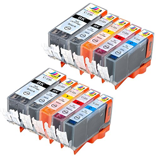 Ink & Toner Geek ® - 10 Pack Compatible Replacement Inkjet Cartridges for Canon PGI-220 Black & CLI-221 Black Cyan Magenta Yellow For Use With Canon PIXMA IP3600 PIXMA IP4600 PIXMA IP4700 PIXMA MP540 PIXMA MP560 PIXMA MP620 PIXMA MP620B PIXMA MP640 PIXMA MP640R PIXMA MP980 PIXMA MP990 PIXMA MX860 PIXMA MX870 (2 Large Black, 2 Small Black, 2 Cyan, 2 Magenta, 2 Yellow)