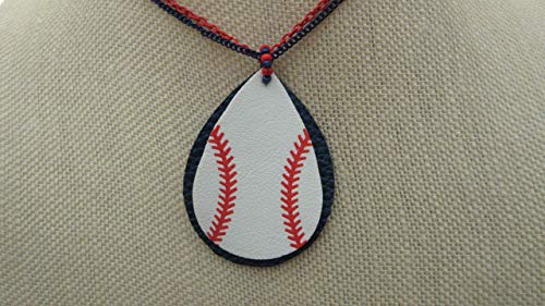 (Major League Baseball Inspired Large Oval Leather Baseball Pendants Two Chains)