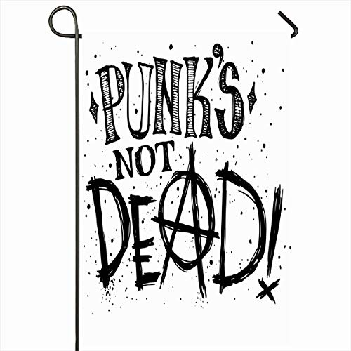 Ahawoso Outdoor Garden Flag 12x18 Inches Star Hair Skull Punks Not Dead Label Doodle Music Rock Tattoo Pattern Sketch Girl Text Design Sparrow Seasonal Double Sides House Yard Sign