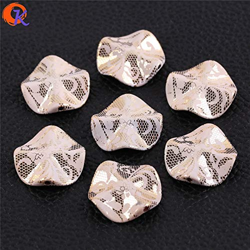 Calvas Cordial Design 27mm 100Pcs Acrylic Bead/Jewelry Making/White Rose On UV Gold Bead/Flower Shape Bead/Print Bead/Earring Findings