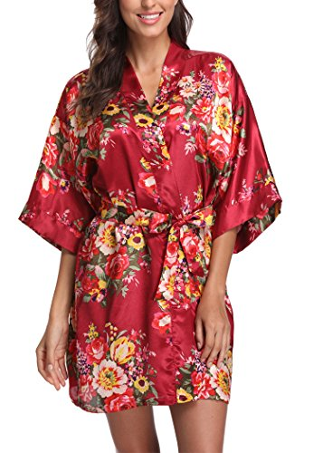 - Laurel Snow Floral Satin Kimono Robes for Women Short Bridesmaid and Bride Robe for Wedding Party,Red S
