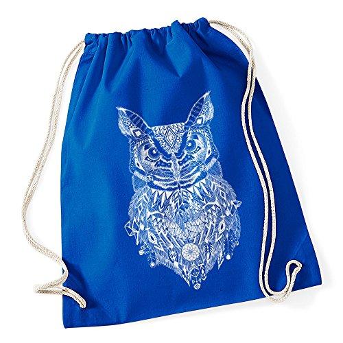 Turnbeutel Eule Aztekenmuster Boho Aztec Owl Hipster Beutel Tasche Bohemian Autiga® blau sV4Z2