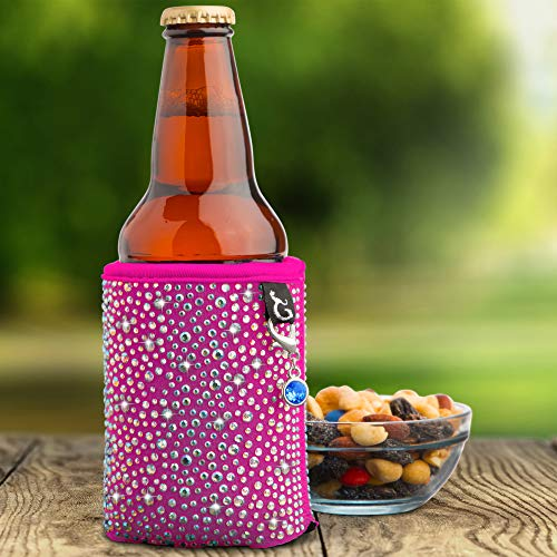 (Glamour Puss Can Coolie - Bling Rhinestone Insulated Neoprene Cooler Sleeve for Women. Sparkly Crystal Reusable Beer and Soda Covers for cans and)
