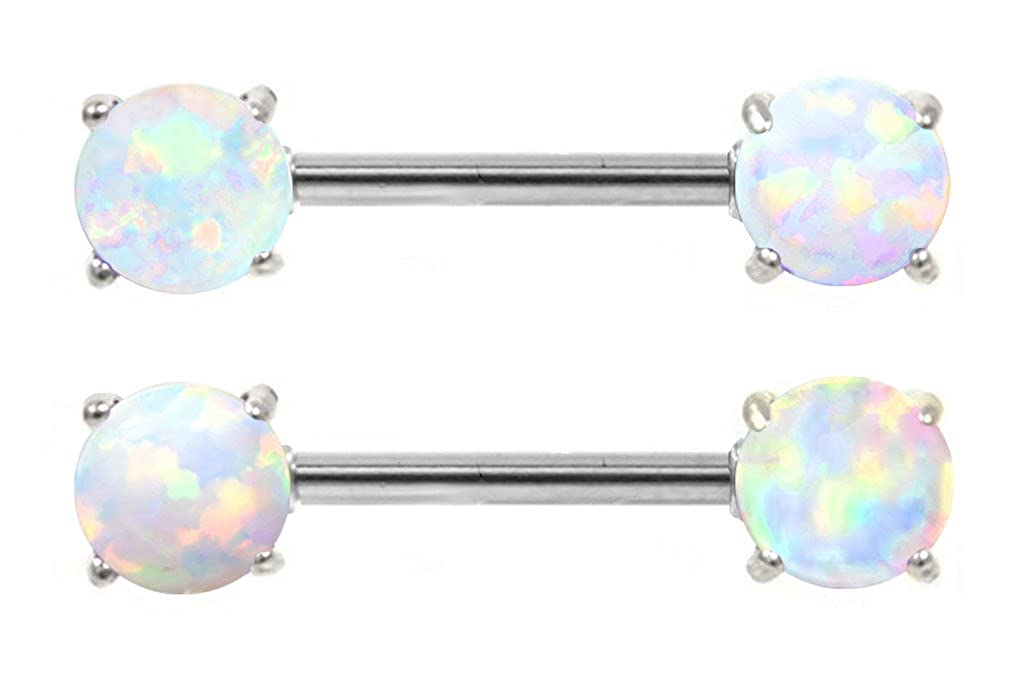 Pair of Synthetic Sparkling Purple fire Opal Prong set ends Nipple bar rings 14g