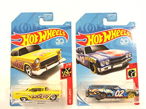Chevy Chevelle Wagon - Hot Wheels 2018 50th Anniversary HW Flames '55 Chevy 12/365, Yellow & Hot Wheels 2018 HW Daredevils '70 Chevelle SS Wagon, Blue