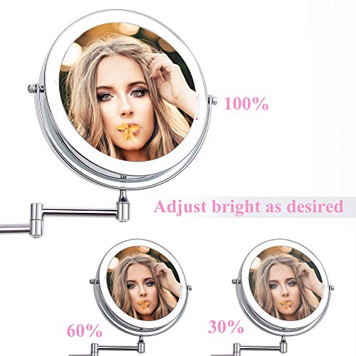 XIFIRY Wall Mounted Makeup Mirror 7X Magnification Double Sided Folding LED Bathroom Mirror Retractable 360 Swivel Illuminated Vanity Mirror, Powered by 4 x AAA Batteries 8 Inches