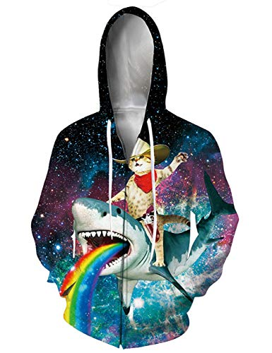 (RAISEVERN Unisex Full-Zip Hoodies 3D Digital Printed Creative Galaxy Rainbow Shark and Magic Cat Graphic Sweatshirt Jacket Pullover with Pockets)