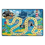 My Daily Pirate Theme Board Game Kids Area Rug 20'' x 31'', Door Mat for Living Room Bedroom Kitchen Bathroom Decorative Lightweight Foam Printed Rug