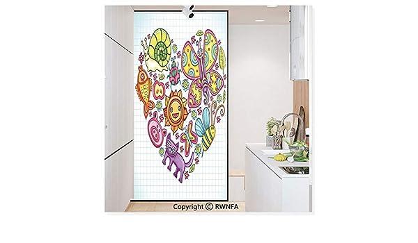 Película de vidrio sin pegamento, pegatina de papel para ventana, adherencia estática para privacidad, decoración de puerta con detalle de oso de peluche dibujo con corazón en lugar de un vientre mini