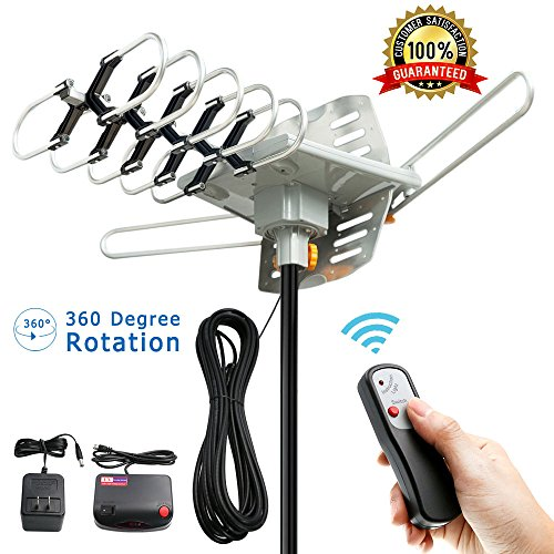 TV Antenna – Outdoor Amplified HD Digital HDTV Antenna 150 Mile Range Motorized 360 Degree Rotation, Vansky TV Antenna for 2 TVs Support – UHF/VHF Signal Wireless Remote Control – 33FT Coax Cable