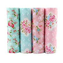Floral Cotton Fabric Patchwork Telas Blue Series Floral Patchwork Fabric Fat Quarter Bundles Fabric For Pillow Coin Purse Dress Doll Skirt 40X50cm 4pcs/lot (As Picture Shown)