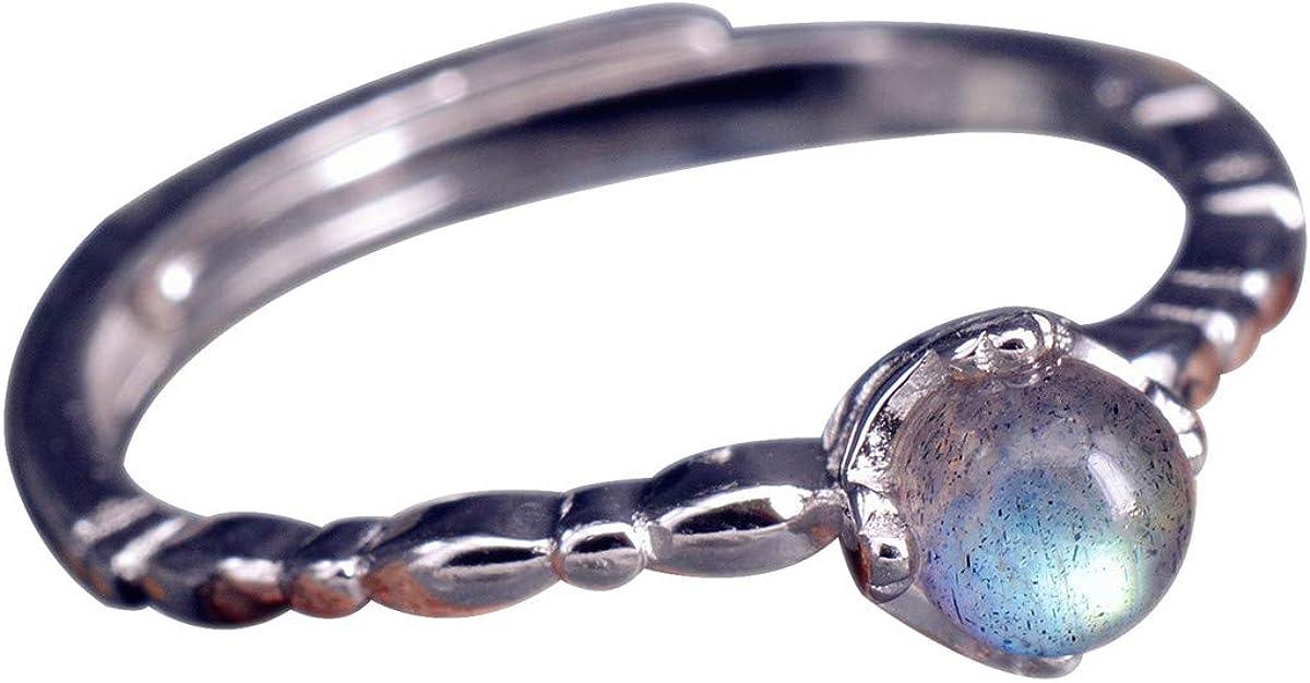Nico de mujer anillo de plata piedra de luna de plata de ley 925Bola con Piedra Azul liso decente ajustable abierto sri344