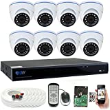 GW 8 Channel 5 Megapixel Video Day Night Security Surveillance System, 8 Weatherproof HD 5MP (2.5X 1080P) Dome Cameras, Motion Detection/Smart Search/Email Alert