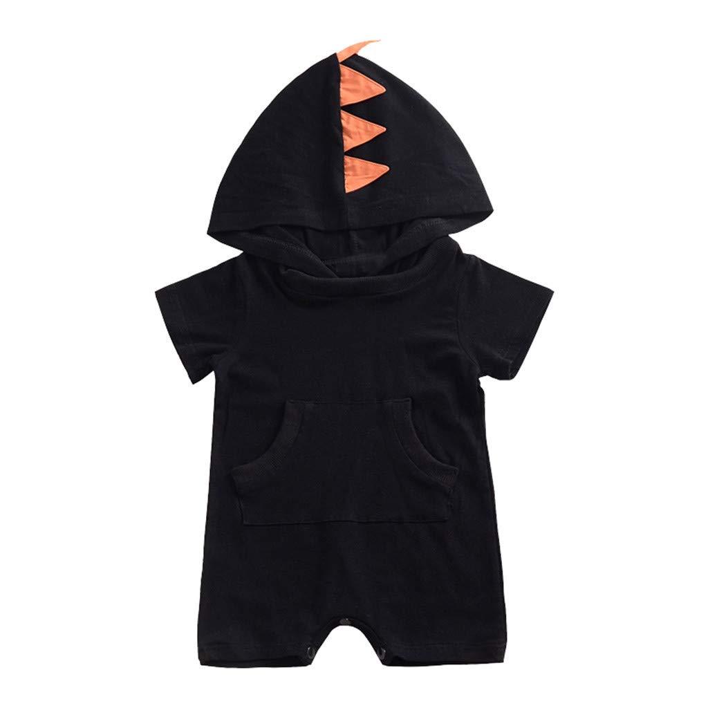 78144d684a2c Amazon.com  Cuekondy Toddler Baby Girls Boys 2019 Fashion Dinosaur Hooded Jumpsuit  Romper Summer Short Sleeve Bodysuit Playsuit  Clothing
