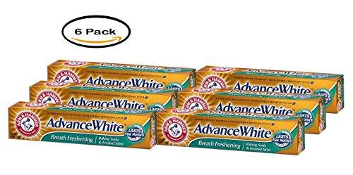 PACK OF 6 - Arm & Hammer Advance White Breath freshening Baking Soda & Frosted Mint, 6.0 OZ -