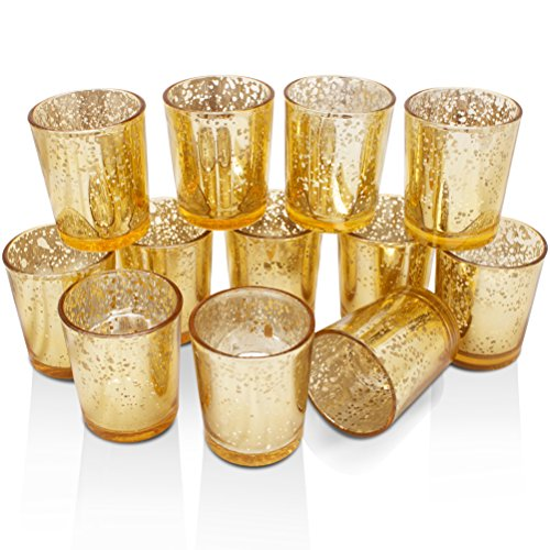 Volens Gold Votive Candle Holders Bulk, Mercury Glass Tealight Candle Holder Set of 12 for Wedding Decor and Home Decor