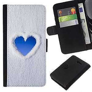 All Phone Most Case / Oferta Especial Cáscara Funda de cuero Monedero Cubierta de proteccion Caso / Wallet Case for Sony Xperia M2 // Heart Sky Snow Clouds Love