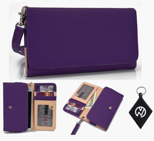 Apple iPhone 1, 2, 3, 3GS, 4, 4S, 5, 5S, 6 Wallet Wristlet Clutch with Coin Money Zipper Pocket and Three ID Credit Card Compartments. Includes one Detachable Wrist Strap. Color: Purple + NuVur ™ Keychain (ESMLMTU1)