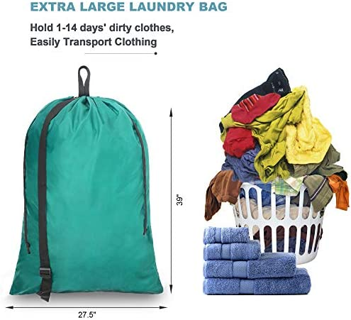 Beegreen Teal X-Large Drawstring Laundry Bag with Adjustable Strap Heavy Duty Machine Washable Dirty Laundry Bags for Laundromat and Household Traveling Family Student Dormitory Heavy Duty