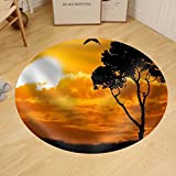 Gzhihine Custom round floor mat Africa Safari Nature Sunset. Element of Design.