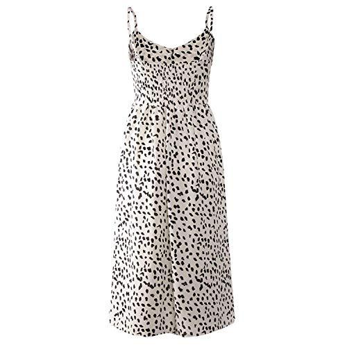 Women's Holiday Summer Dress Pockets Strappy Single Breast Sexy Dot Print Flare Dress Beach Slim Dress,Black,L