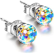 "NINASUN ♥Gifts for Her♥""Fantastic World"" 925 Sterling Silver 0.24"" (6mm) Ball Earrings Hypoallergenic Fine Jewelry, Crystals from Swarovski"