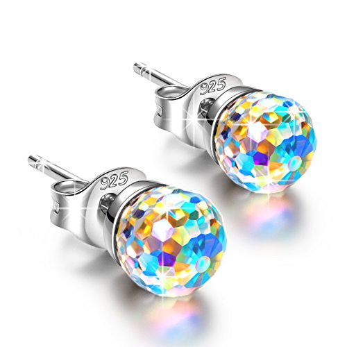 NINASUN Women Earrings Stud Earrings for Women Pierced 925 Sterling Silver Aurore Boreale Colourful Swarovski Crystals Fine Fashion Costume Jewelry Birthday Gifts Her Girlfriend Wife Sister Mom Mother