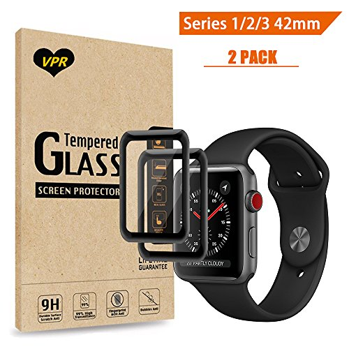 Apple Watch Screen Protector 42mm, VPR [Full Coverage] Tempered Glass Screen Protector [Anti-Scratch] [High Definition] [Bubble Free] for Apple Watch 38mm Series 1/2/3 (Apple Watch 42mm 2PC) by VPR