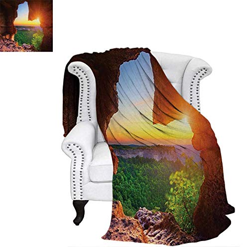 Canyon Sofa Sets - Weave Pattern Blanket Canyon at Sunset Time from The Cave Exploration Theme Secret Perspective Custom Design Cozy Flannel Blanket 70