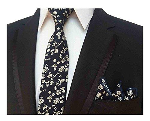 - L04BABY Men's Skinny Set Cravat Flower Cotton Printed Floral Pattern Tie Necktie