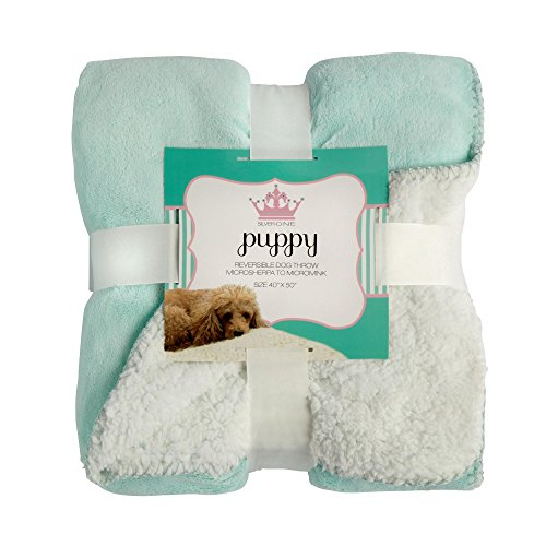 Silver One Puppy Reversible Micromink Dog Throw Blanket, ...