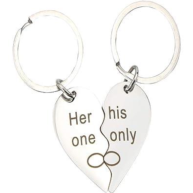 Amazon.com: 2 llaveros con forma de corazón dividido y ...