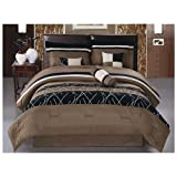 JBFF Luxury Embroidery Bed in Bag Microfiber Comforter Set, Queen, Coffee, 7 Piece