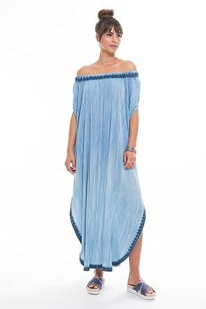 3a333916db Muche et Muchette Women's Wovens Maxi Dress Swim Cover up Light Denim One
