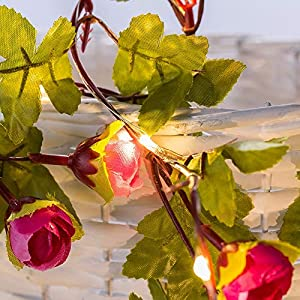 Omika Artificial Flowers Rose Vine Fairy Lights, 6.5ft 20 LED Battery Powered Hanging Garland String Light for Wedding Bouquets Centerpieces Arrangements Party Baby Shower Party Home Decorations 4