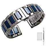 Exclusive Blue Ceramic 18mm Replacement Watch Band Bracelet, Two Tone Silver Watch Strap for Women & Men, Metal Watch Band with Stainless Steel Deployment Clasp