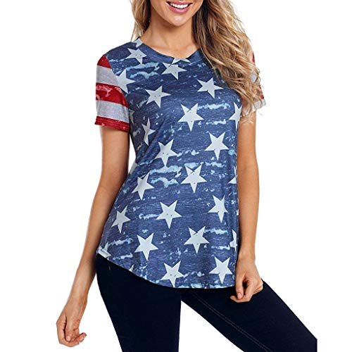 - Toponly Independence Day Patriotic Tee Shirt Tops For Women Short Sleeve Camouflage American Flag Back Print T-Shirt