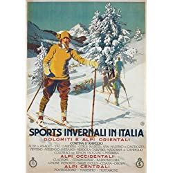 "TV45 Vintage 1926 Winter Sport Italy Italian Ski Skiing Travel Poster Re-Print - A3 (432 x 305mm) 16.5"" x 11.7"""