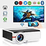2019 Bluetooth Projector WiFi Wireless Android 5000 Lumens LCD LED Smart Video Projector Home Theater Support HD 1080P Airplay HDMI USB VGA AV for TV Smartphone DVD Game Console Laptop Outdoor Movie
