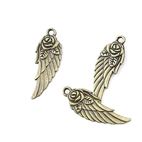 20 pieces Anti-Brass Fashion Jewelry Making Charms 2519 Angel wings Wholesale Supplies Pendant Craft DIY Vintage Alloys Necklace Bulk Supply -