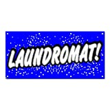 "Graphics and More Laundromat - Laundry Dry Cleaning Blue with Dots Business Sign Banner - 58"" (width) X 28"" (height)"