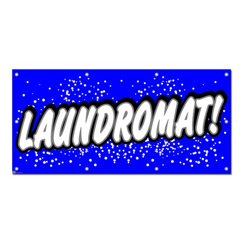 """Graphics and More Laundromat - Laundry Dry Cleaning Blue with Dots Business Sign Banner - 58"""" (width) X 28"""" (height)"""