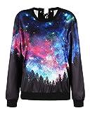 sanatty Crewneck Pullover Sweatshirt Women Galaxy Printed Design Shirts Graphic Back Bow Tie Tops