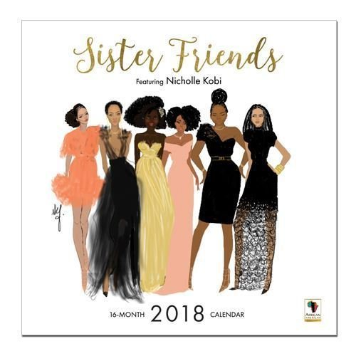 : Black Cards WC164 Sister Friends 2018 Wall Calendar, White
